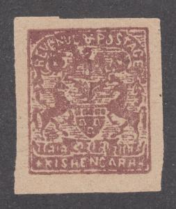 India, Kishangarh Sc 14 MNG. 1899 2r brown red Coat-of-Arms handstamped, imperf