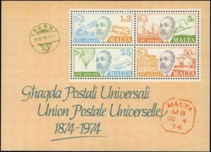 1974 Malta #487a, Complete Set, Souvenir Sheet, Never Hinged