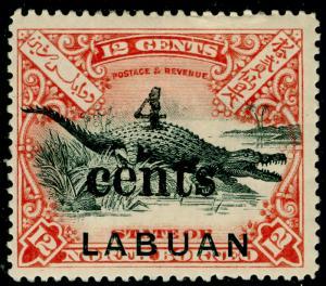 LABUAN SG132, 4c on 12c black & vermilion, M MINT. Cat £45.