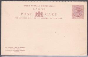 LAGOS NIGERIA QV 1½d + 1½d reply postcard fine unused........................716
