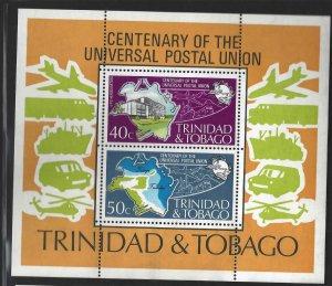 Trinidad and Tobago 244a UPU Cent Map/Emblem/Plane MNH S/S CV$16 1974