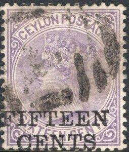 CEYLON-1885 15c on 16c Pale Violet Sg 186 GOOD USED V50131