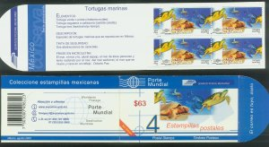 MEXICO CONSERVA 2473a, ($15.75P) MARINE TURTLES UNEXPLODED BOOKLET MINT, NH. VF