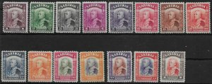 SARAWAK SG106/20 1934 DEFINITIVE SET TO $1 MTD MINT (NO 1941 VALS)