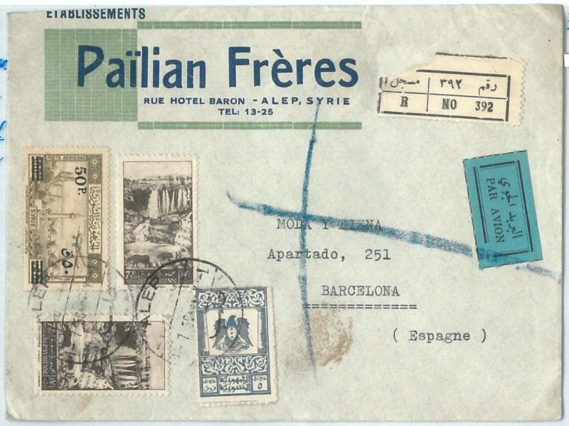 71149 - SYRIA - POSTAL HISTORY - REGISTERED Airmail COVER  to SPAIN 1950