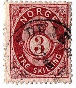 NORWAY 1872 Scott 18 used scv $35.00 less 80%=$7.00
