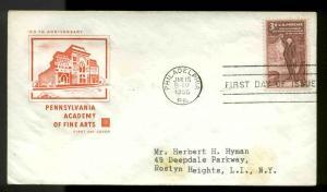 1064 PENNSYLVANIA ACADEMY FDC PHILADELPHIA, PA HOUSE OF FARNAM CACHET