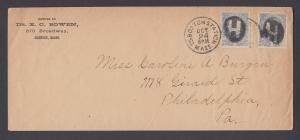 US Sc 206 on c. 1882 cover, Boston Negative H fancy cancel
