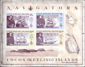 Cocos Islands #218-221a Complete Set(4), 1990, Never Hinged
