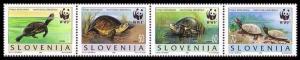 Slovenia WWF European Pond Tortoise Strip of 4v SG#279-282 MI#131-134 SC#247 a-d