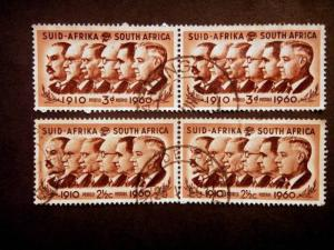 South Africa - 3d & 2 1/2c-Union of South Africa -doubles SG 184 & 189