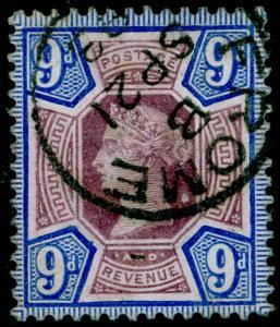 SG209 SPEC K38(2), 9d dull purple & bright blue, VERY FINE used, CDS. Cat £75.