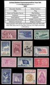 US Stamps 1957 Complete Mint Year Set of Vintage Commemorative Stamps