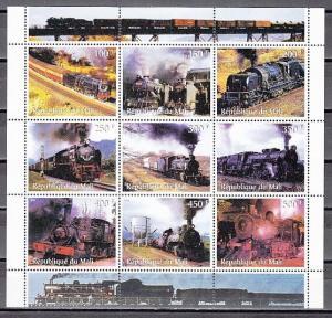 Mali, 1998 Cinderella issue. Locomotives sheet of 9.