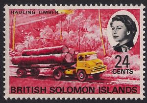 British Solomon Islands 1968 QE2 24ct Hauling Timber Umm SG 176 ( R794 )
