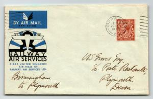 GB 1934 Railway Air Services Cover Birmingham to Plymouth - Z13787