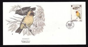 Flora & Fauna of the World #228a-Jersey-Birds-Rodrigues Weaver-FDC with  single