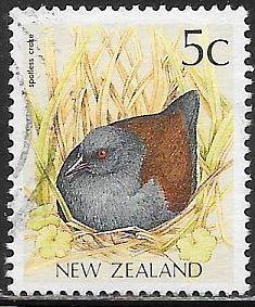 New Zealand 919 Used - Bird - Spotless Crake