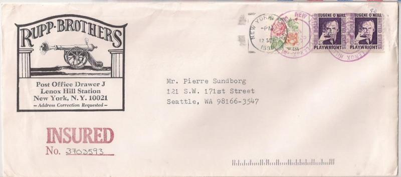 1 ONeil Coil Pr On Cover Stamp Dealer Mail Insured 1305C HipStamp