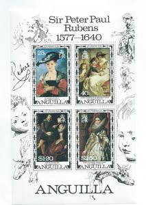 Anguilla #304A Souvenir sheet of 4 Rubens (MNH)  CV $2.75