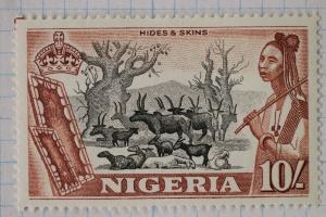Nigeria sc#90 Mint MH OG hides skins 10/ sh shillings