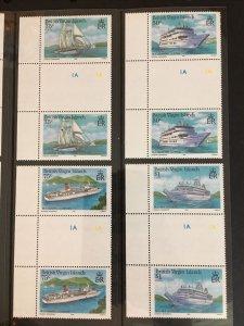 1986 Virgin Islands Sc# 524-7, Cruise Ships Gutter Pairs