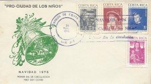 COSTA RICA PAINTINGS,PRO-CIUDAD de los NIÑOS,CHRISTMAS TAX Sc RA69-RA72 FDC