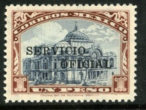 MEXICO O209, $1P OFFICIAL. PALACE OF FINE ARTS. Mint, Never Hinged. F-VF.