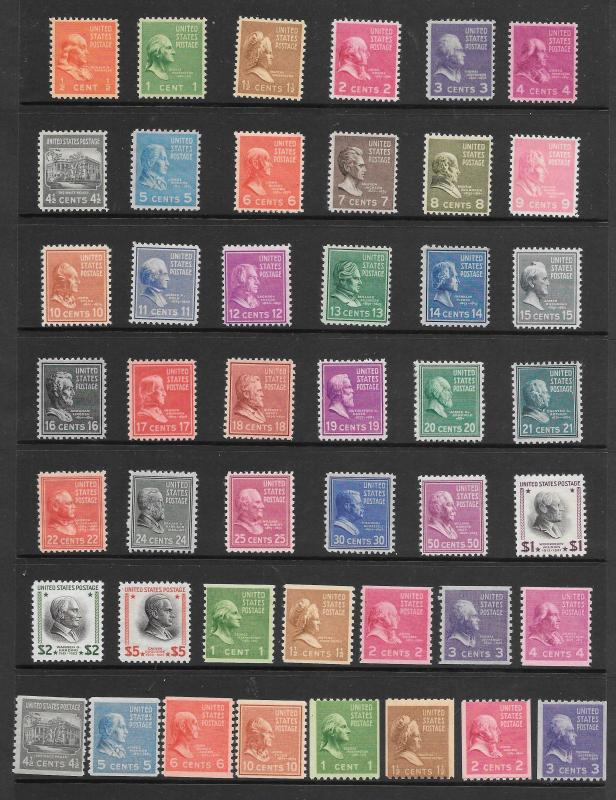 #803-834 & 839-851 MNH 1938 Presidents Complete Set of Regulars & Coils Singles