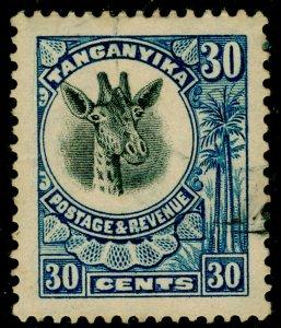 TANGANYIKA SG79, 30c blue, USED.