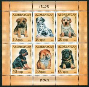 HERRICKSTAMP AZERBAIJAN Sc.# 975 Dogs Stamp Sheetlet of 6 Different