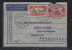 NETHERLAND INDIES (P1709B) 1933 A/M 30C SURCH+12 1/2C A/M TO NETHERLANDS