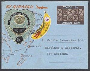 TONGA 1972 9s aerogramme uprated self adhesives used to NZ..................J618