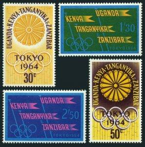 Kenya,Uganda,Tanzania 144-147,MNH.Michel 132-135. Olympics Tokyo-1964.