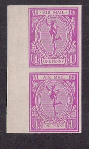 GREAT BRITAIN Mercury Essay ca 1960s repro imperforate VF margin pair.