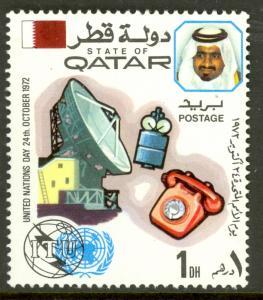 QATAR 1972 1d UN DAY ITU SATELLITE Issue Sc 323 MNH