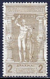 GREECE — SCOTT 126 — 1896 2d STATUE OF HERMES — MH — SCV $325
