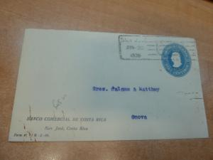 Costa Rica PSE 10c 1908 from Bank to Italy (3bec)