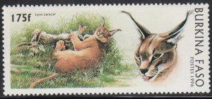 Burkina Faso 1996 MNH Sc #1081 175fr Caracal with prey
