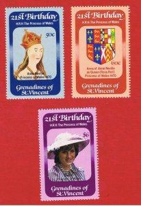 St. Vincent Grenadines #243-245  MNH OG  Diana    Free S/H
