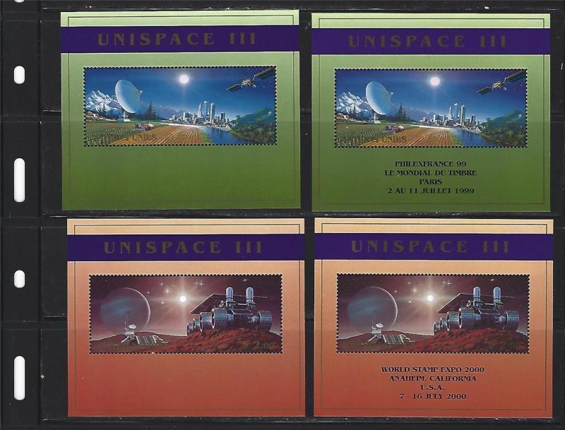 Four (4) Souvenir Sheets Unispace III w/Special Overprint Below Retail of $34.00