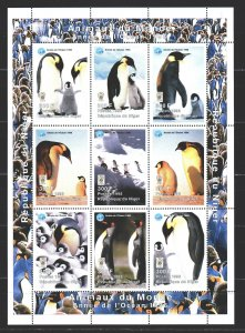 Niger. 1998. Small sheet 1404-12. Penguins. MNH.