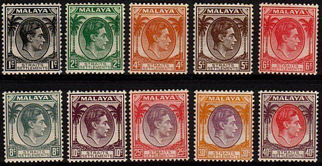 STRAITS SETTLEMENTS 1937-41 Die I GVI 10 values to 40c fine mint...........48858