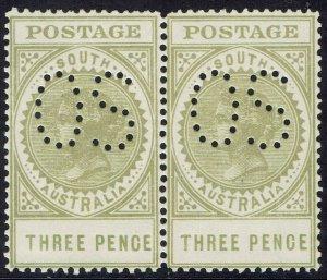 SOUTH AUSTRALIA 1906 QV THICK POSTAGE 3D OS MNH ** PAIR WMK CROWN/A