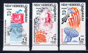 British New Hebrides 205-07 1976 Telephone Centenary