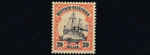 GERMAN EAST AFRICA  1905 - 20  S G 38   20H  BLACK & RED YELLOW   MNH
