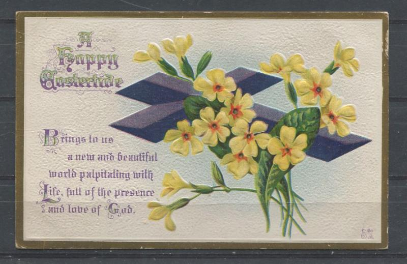 Canada #104v 1c Dp. Dull Bl. Green on 1914 Embossed Easter Postcard - VF-82