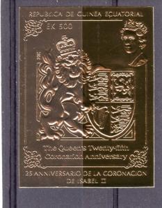 Equatorial Guinea 1978 Coronation 25th.Anniv.Set (1) Gold Imperforated Mi#B1343
