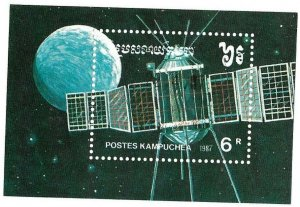 CAMBODIA #784  1987  SOVIET SPACE CRAFT      MINT  VF NH  S/S