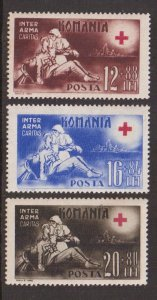 Romania #B203-B205   MNH 1943   Red Cross nurse wounded soldier